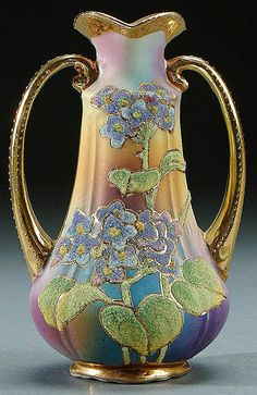 A NIPPON CORALENE DECORATED TWO HANDLED VASE CIRCA 1909, WITH BEADED GLASS DECORATION OF FLOWERS ON A BLUE TO PURPLE SATIN FINISH