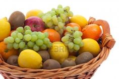 Fruit basket with different fruits