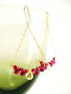 Gold Chandelier Earrings, Red Chandelier earrings, 14k Gold Filled. $42.00, via Etsy.