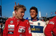 Mika Hakkinen & Michael Schumacher – Macau GP, 1990: Mika is the only driver Schumi ever feared. Prayers for Schumacher and his family!