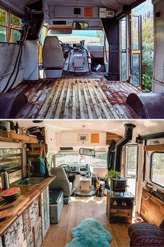 Before After Buslife The Best Part About Living A Nomadic Lifestyle Is Building Your Home On Wheels Buslife Nz Shared Their Skoolie Conversion With Us Van Life, Wolkswagen Van, School Bus Tiny House, Kombi Home, Bus Living, Living In Van, Short Bus, Camper Van Conversion Diy, Van Interior