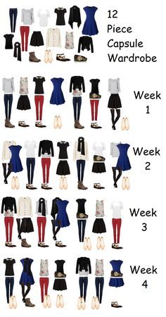 I will probably never own red skinny jeans, but I like the colors in this capsule wardrobe. No heels and light on the accessories.