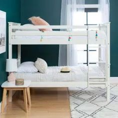 Harper & Bright Designs Espresso Twin Bunk Bed Over with Trundle Bed and End Ladder-SK000067AAP - The Home Depot White Bunk Beds, Wooden Bunk Beds, Bunk Bed With Trundle, Bunk Beds With Stairs, Cool Bunk Beds, Twin Bunk Beds, Toddler Bunk Beds, Kid Beds, Portable Bunk Beds