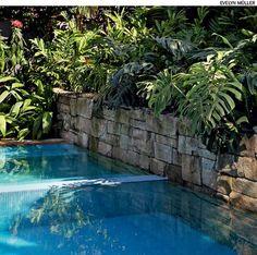 Para dar um visual mais natural à piscina, uma sugestão é usar pedras em uma de suas extremidades. Aqui, a pedra marroada compõe os 2,50 m de muro, tomado por plantas tropicais. Projeto do paisagista Gil Fialho.