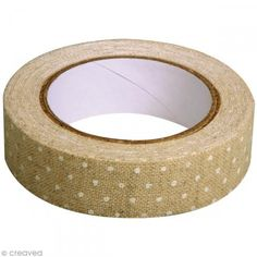 Fabric tape thermofixable - aspect lin beige à poids blancs - 15 mm x 5 m - Photo n°2