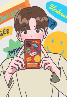 Cute Pastel Wallpaper, Kawaii Wallpaper, Wallpaper Iphone Cute, Baekhyun Fanart, Kpop Fanart, Cute Cartoon Wallpapers, Animes Wallpapers, Exo Cartoon, Exo Stickers