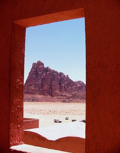 Wadi Rum, Jordan, looking through the framework of Seven Pillars of Wisdom
