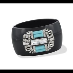 Reduced Again ✂️ Kenneth Jay Lane Art Deco Cuff Black resin Art Deco hinged cuff with crystal stones, and turquoise resin accents. Kenneth Jay Lane Jewelry Bracelets