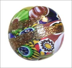 Vintage Venetian Millefiori bead with at least 8 different murrine canes and adventurine