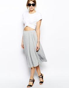 Casual chic - white tee and comfy midi skirt