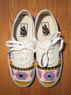 Tribal Aztec Painted Shoes Vans by denimtrend on Etsy Vans Sneakers, Vans Shoes, White Sneakers, Converse, Vans Motif, Crazy Shoes, Me Too Shoes, Motifs Aztèques, Basket Sneakers