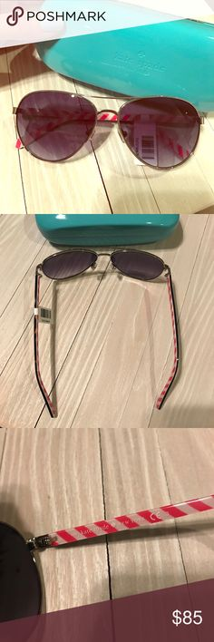 Kate Spade 😎 Silver framed aviator sunglasses brand new with tags! Reg $120, very comfortable and lightweight! Make me an offer, never worn perfect condition case Included Accessories Sunglasses
