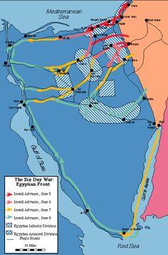 Mapa de la guerra de los 6 días, en 1967.