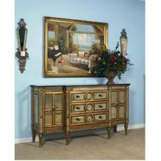 Check out the Bassett Mirror D1954-565EC Tuscan Overtures Buffett in Gold Mirrored  priced at $1,666.00 at Homeclick.com.