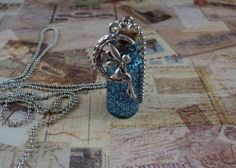 Pixie-Dust Glitter Miniature Glass Bottle Charm necklace - Moondust Moon Fairy