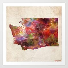 Washington Map Warm Colors Art Print
