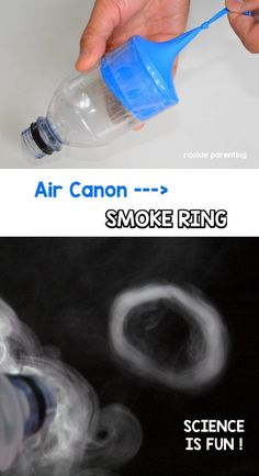 This is a tutorial on how to make an air canon using a balloon and water bottle. You can see how air flies out of the bottle as a vortex by watching the smoke ring that comes out. It is an awesome air canon smoke ring science experiment to show your kid!