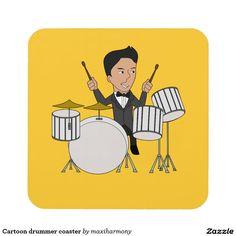 Cartoon drummer coaster
