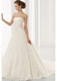 QUERO PRA MIM! A-Linha Sem Alça Cauda Longa Cetim Vestido de Noiva 2012 (5A0021)