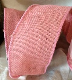 pretty pink dusty rose burlap wired ribbon rustic primitive elegant country wedding diy projects. $2.00, via Etsy.