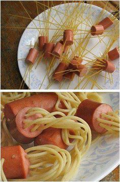 Great recipe for kids.  What could be better than hot dogs and spaghetti!