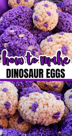 Dinosaur Eggs Rice Krispie Treats are a fun and easy to make treat, Make them in an color and wow the guests at your Dinosaur Party with this yummy dessert. Vegan Rice Crispy Treats, Chocolate Rice Crispy Treats, Homemade Rice Krispies Treats, Rice Krispy Treats Recipe, Chocolate Fudge, Dinosaur Eggs, Dinosaur Party, Egg Rice Recipe, Sugar Free Cereal