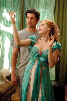 """Patrick Dempsey as Robert Philip & Amy Adams as Giselle - Enchanted """"You made a dress out of my curtains? Disney Live, Film Disney, Disney Magic, Disney Movies, Disney Couples, Disney Characters, Enchanted Movie, Giselle Enchanted, Disney Enchanted"""