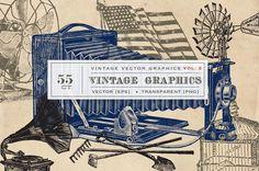 55 Vintage Vector Graphics - Vol.2 – Avalon Rose Design