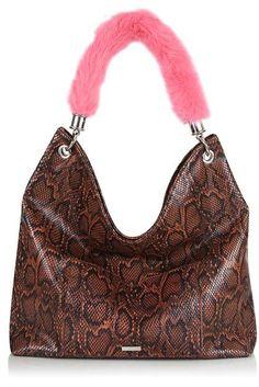 Tan snake 'Cordelia' tote bag. 95% Plastic, 5% Metal.  Color: TAN Code: 63Q22KTAN