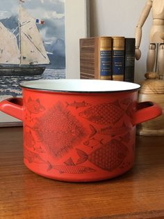 Excited to share this item from my shop: Finel pot sause pan from the Neptune series designed by Finel for Arabia Finland retro midmod/kitchen Red Fish Fish Information, Types Of Fish, Red Fish, Coffee Set, Close Up Photos, Red Background, Finland, Etsy Shop, Canning