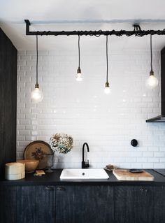 Tile, lights, black and white.