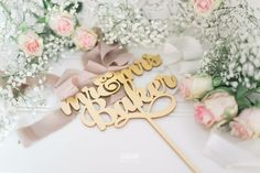 Gilded Gold Cake Topper - Custom Name Personalised Metallic Mirror Gold Cake Topper, Personalized Cake Toppers, Gold Gilding, Handmade Wedding, Gift Guide, Birthdays, Metallic, Place Card Holders, Mirror