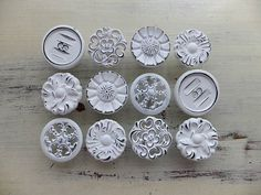 """12 Large """"Misfit Knobs"""" Kitchen Cabinet Pulls Shabby Chic White Painted Cottage Vintage Pantry Hardware Drawer Cupboard DETAILS LISTED BELOW"""