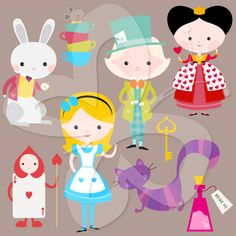 Mad Hatter clip art, Cheshire Cat clip art, even the White Rabbit and Queen of Hearts…this Alice in Wonderland clip art has everything you need to add to your fairytale clipart collection.   #clipart