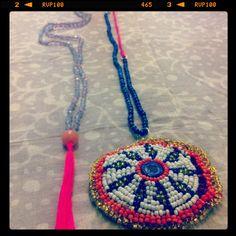 #Necklaces #stones #silk #tassels #afghan frabic #
