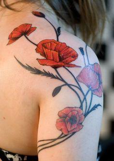 20e50404903de Attractive Poppy Flowers Tattoo On Girl Right Shoulder Tattoo Feminina,  Sweet Tattoos, Tatoos,
