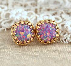 Purple Violet Opal Stud earrings Green bridesmaids gift ,Gold plated silver post Crown settings Opal stone,feminine earrings, gift for woman
