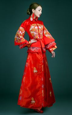 Peony floral embroidered red Chinese QunKwa long wedding qipao: Two piece a set; Chinese Wedding Dress Traditional, Chinese Style, Traditional Dresses, Traditional Chinese, Ethnic Fashion, Asian Fashion, Chinese Fashion, Red Wedding Dresses, Bride Dresses