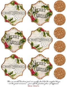 """Gold glitter, Merry Christmas printable ~ includes 1.5"""" circles, approx 3"""" tags/labels."""