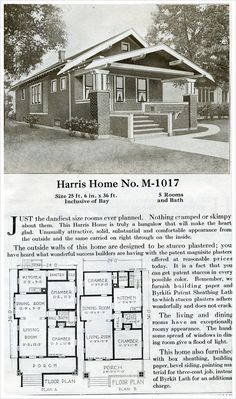 This 921 sq. ft. bungalow offers relatively large rooms for such a small footprint. Two floor plans permit a kitchen with a pantry in both. The 25 foot line of sight from living room to the dining room makes the relatively small rooms seem much larger than if they were closed off. Other than the itsy-bitsy bath, it's a livable house for a couple or small family.