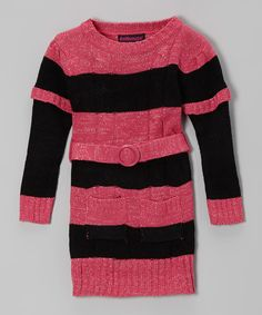 Take a look at this Black & Pink Stripe Layered Sweater Dress - Toddler & Girls on zulily today!