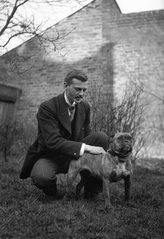 Edwardian man stroking a bulldog, c 1900s. From Judi Crowe's Collection.