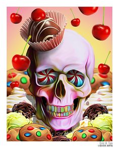 I'm usually not a big skull fan, but this is such an interesting piece that I had to pin it. The candy background is so creative and has a lot of detail. I love the bright and vibrant colors. The artist took the skull and made it part of the candy, which gives it a new look. I like the peppermint eyes and rainbow teeth. I don't know if this illustration is supposed to have a message or not. One message I can think of is, if you eat to much candy you are getting closer to death.