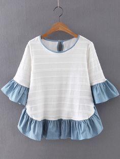 Online shopping for Multicolor Ruffle Bell Sleeve Knit Jacquard Blouse from a great selection of women's fashion clothing & more at MakeMeChic. Blouse Styles, Blouse Designs, Mode Top, Diy Clothes, Baby Dress, Trendy Fashion, Fashion Women, Women's Fashion, Blouses For Women