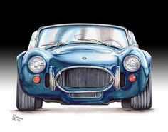 Ford Poster featuring the drawing Ford Shelby Ac Cobra by Shannon Watts