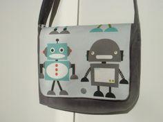Sac besace enfant gris et tissu robots