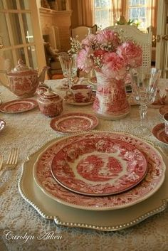 Tablescape with red transferware by DeeDeeBean!!! Bebe'!!! Love this pink Staffordshire Transferware!!!!