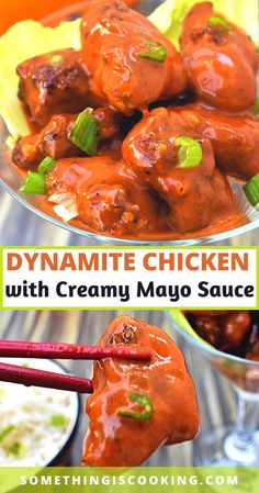 Just like Dynamite Shrimp, Dynamite Chicken is is made with batter-fried crispy chicken chunks served in a bed of dynamite sauce - creamy, spicy and tangy mayo sauce. Chicken Chunks, Ginger Chicken, Crispy Chicken, Make Ahead Appetizers, Vegetarian Appetizers, Ground Chicken Recipes, Best Chicken Recipes, Dynamite Recipe, Dynamite Shrimp