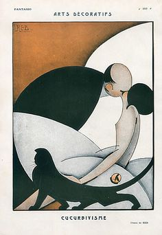 Fantasio Reb 1925 Arts Decoratifs, The Kiss, Cubism Cat illustrated by Reb | Hprints.com