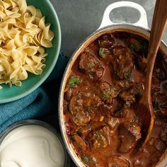 Rich tasting Hungarian Goulash is the perfect one-pot dish for serving up a crowd—just double the recipe. Freeze any leftovers. We like to serve Hungarian Goulash with egg noodles and reduced-fat sour cream.